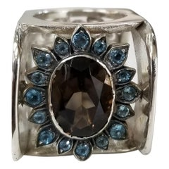 Smokey Quartz Oval 5.78 Carat with Blue Topaz Silver Gresha