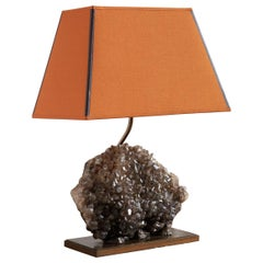 Smokey Quartz Specimen Table Lamp with Terracotta Lamp Shade