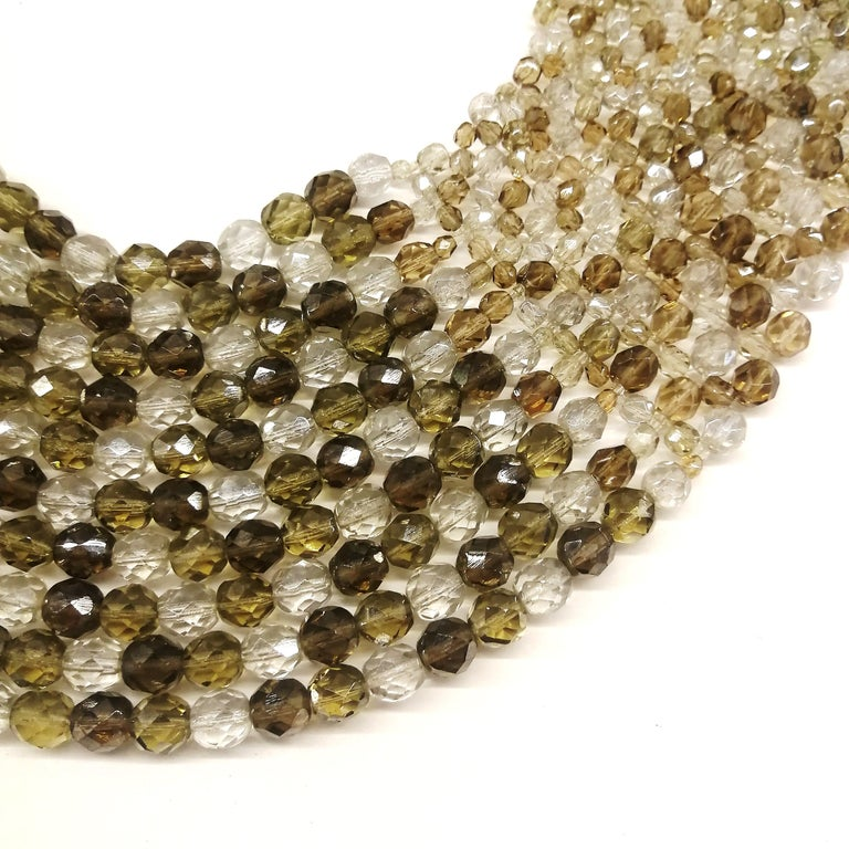 Smokey quartz, taupe and clear glass bead collar, Coppola e Toppo, early 1960s. In Excellent Condition For Sale In London, GB