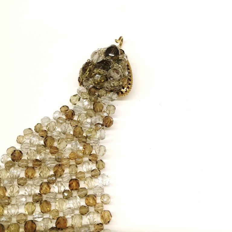 Women's Smokey quartz, taupe and clear glass bead collar, Coppola e Toppo, early 1960s. For Sale