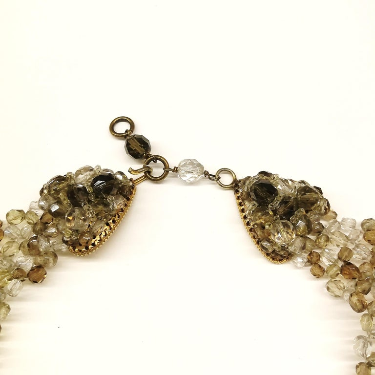 Smokey quartz, taupe and clear glass bead collar, Coppola e Toppo, early 1960s. For Sale 2