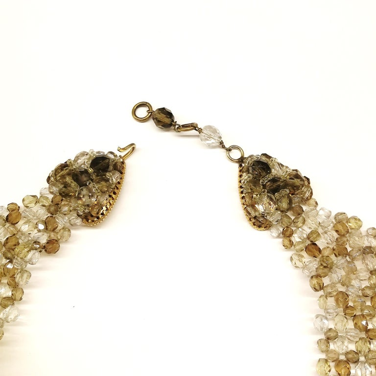 Smokey quartz, taupe and clear glass bead collar, Coppola e Toppo, early 1960s. For Sale 3