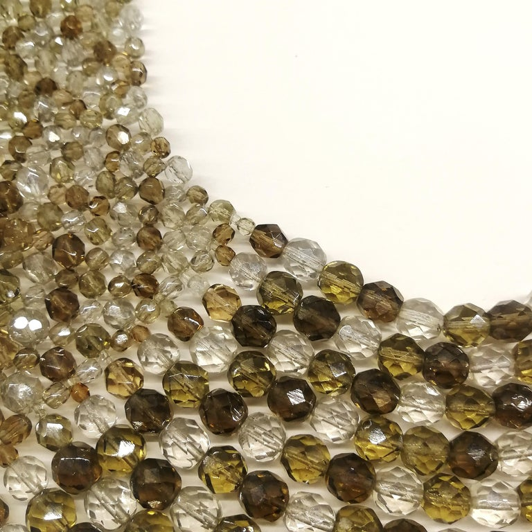 Smokey quartz, taupe and clear glass bead collar, Coppola e Toppo, early 1960s. For Sale 5