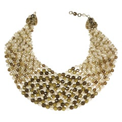 Smokey quartz, taupe and clear glass bead collar, Coppola e Toppo, early 1960s.
