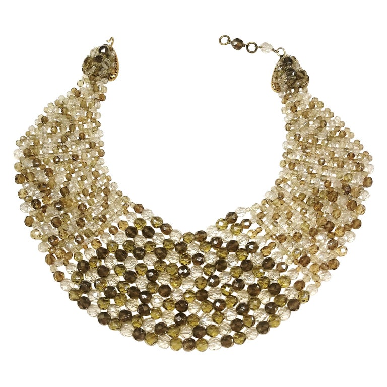 Smokey quartz, taupe and clear glass bead collar, Coppola e Toppo, early 1960s. For Sale