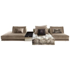 Smoking Modular Sofa in Light Fabric by Roberto Cavalli