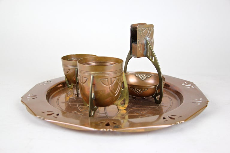 Austrian Smoking Set with Plate Copper/ Brass Art Nouveau, Austria, circa 1915 For Sale