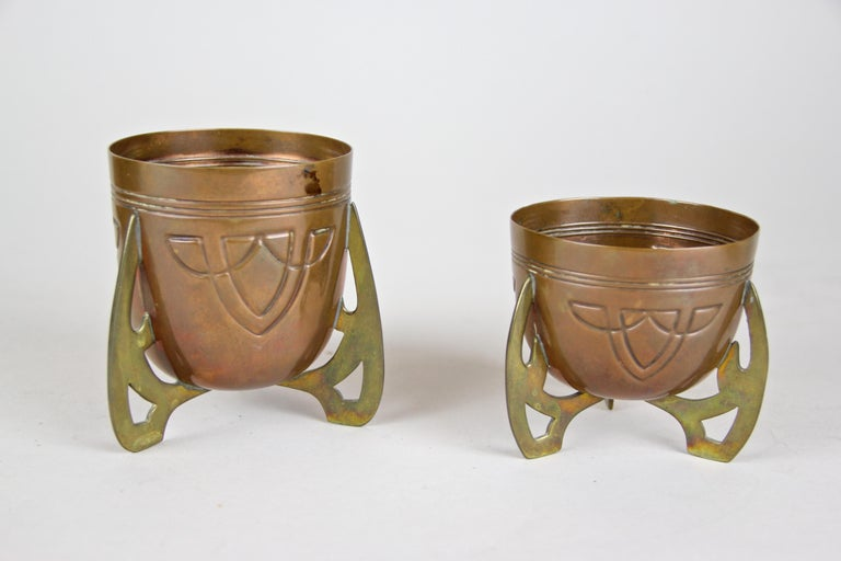 Smoking Set with Plate Copper/ Brass Art Nouveau, Austria, circa 1915 In Good Condition For Sale In Lichtenberg, AT
