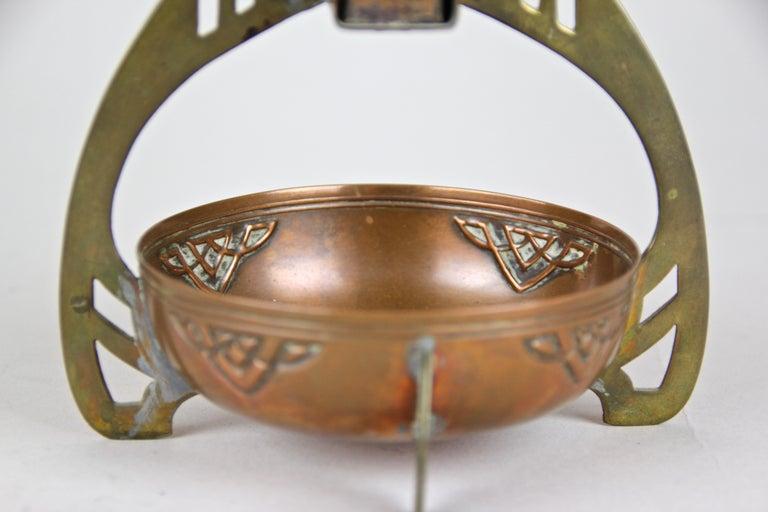 Smoking Set with Plate Copper/ Brass Art Nouveau, Austria, circa 1915 For Sale 4