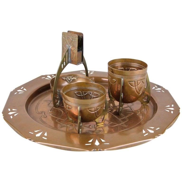 Smoking Set with Plate Copper/ Brass Art Nouveau, Austria, circa 1915 For Sale