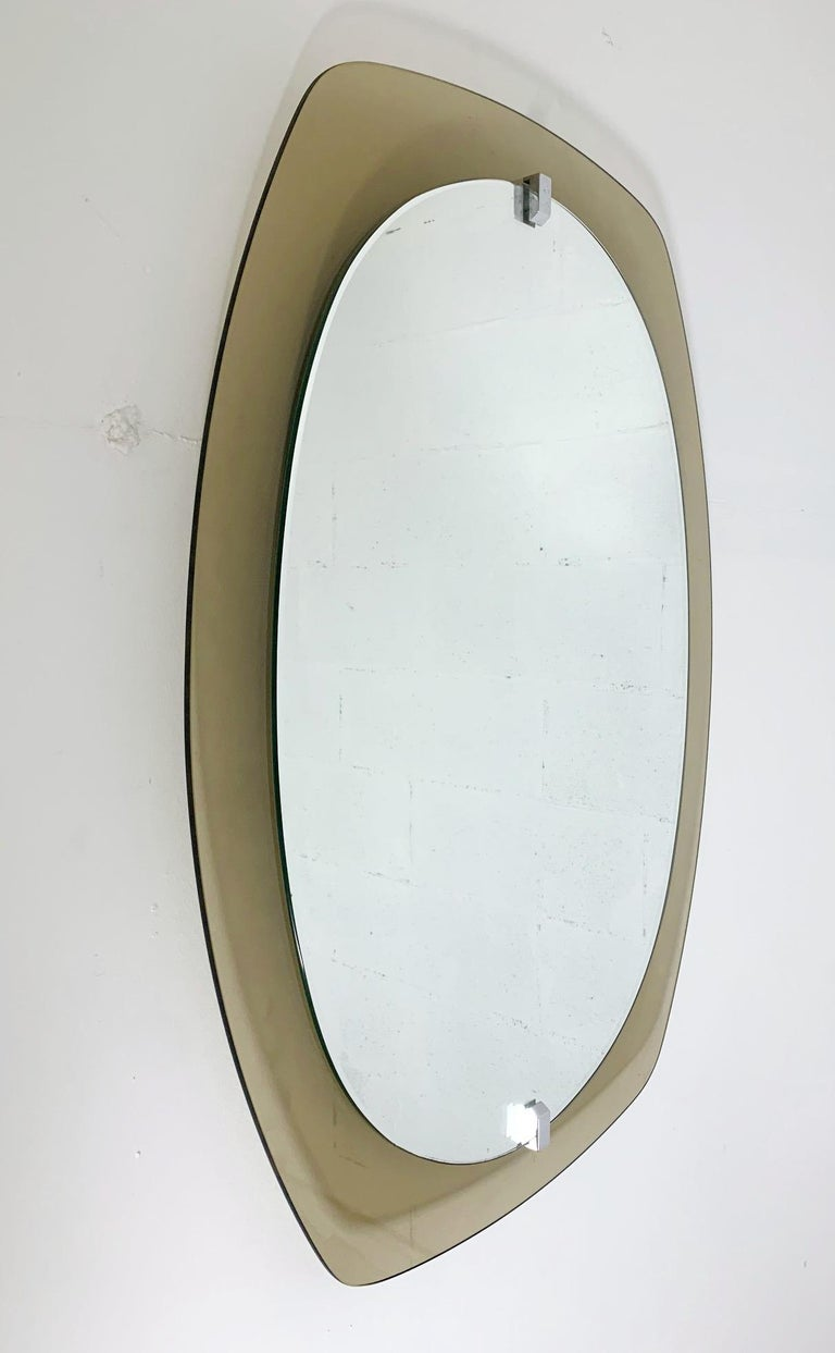 Mid-Century Modern Smoky Beveled Mirror by Veca For Sale