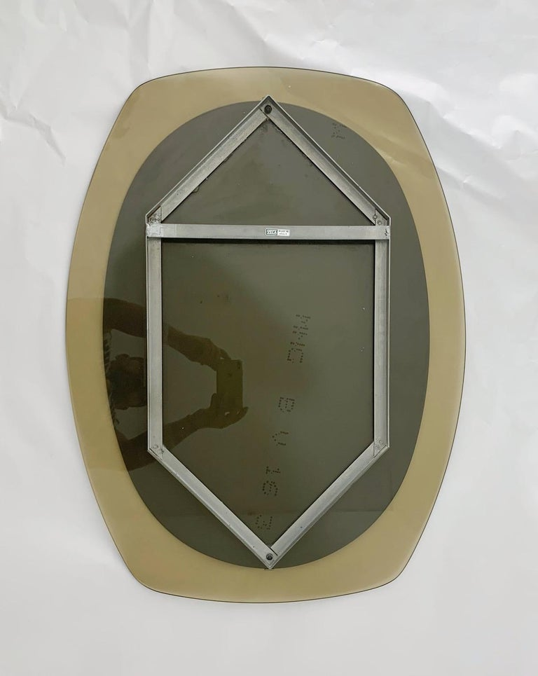 20th Century Smoky Beveled Mirror by Veca For Sale