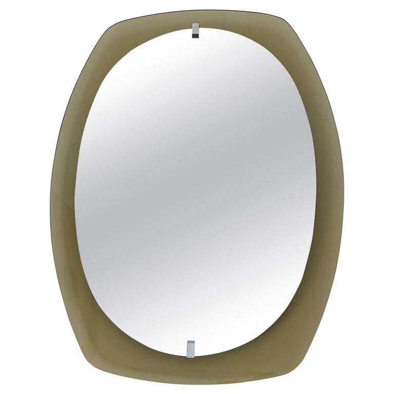 Smoky Beveled Mirror by Veca For Sale