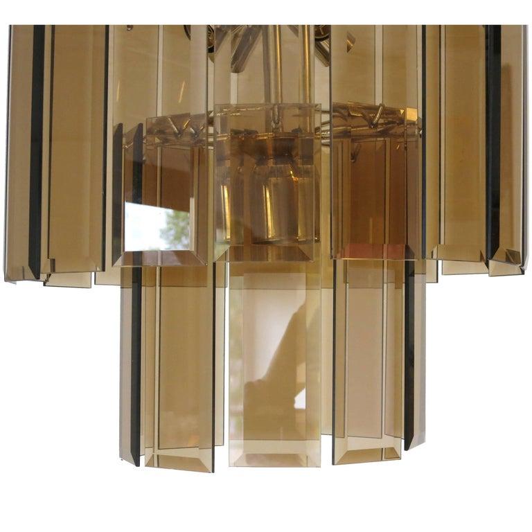 Italian Beveled Glass Pendant by Cristal Arte For Sale