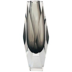 Smoky Faceted Sommerso Vase by Mandruzzato