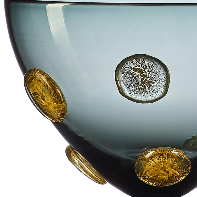 Modern Smoky Gray Blown Glass Statement Vessel with Metallic Gold Details by Vetro Vero For Sale