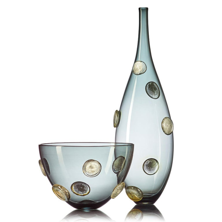 American Smoky Gray Blown Glass Statement Vessel with Metallic Gold Details by Vetro Vero For Sale