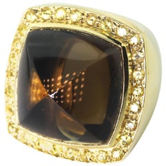 Gemjunky Smoky Quartz and Sapphire 18 Karat Yellow Gold Ring