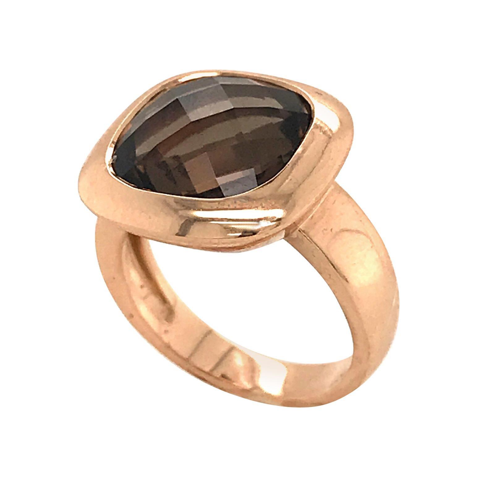 Smoky Quartz Briolette Cut on Rose Gold 18 Karat Fashion Ring