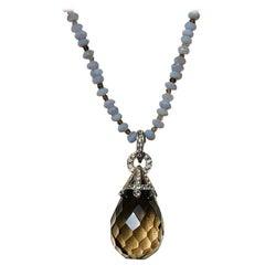 Smoky Quartz Briolette Pendant Necklace