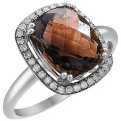 Smoky Quartz Cognac Diamond White Gold Cabochon Stone Ring For Her Ring
