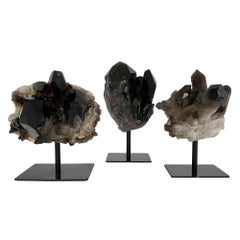 Smoky Quartz Crystal Mounted Mineral Specimens