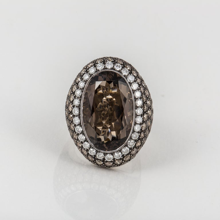 Women's Smoky Quartz, Diamond, and White Gold Ring For Sale