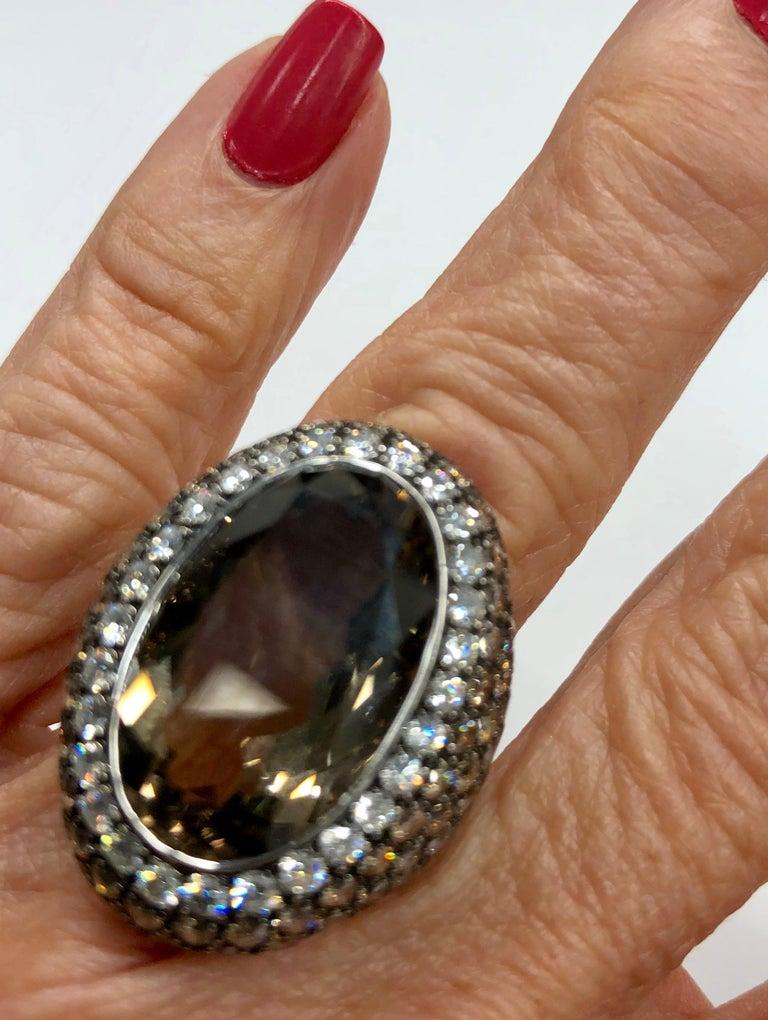 Smoky Quartz, Diamond, and White Gold Ring For Sale 1