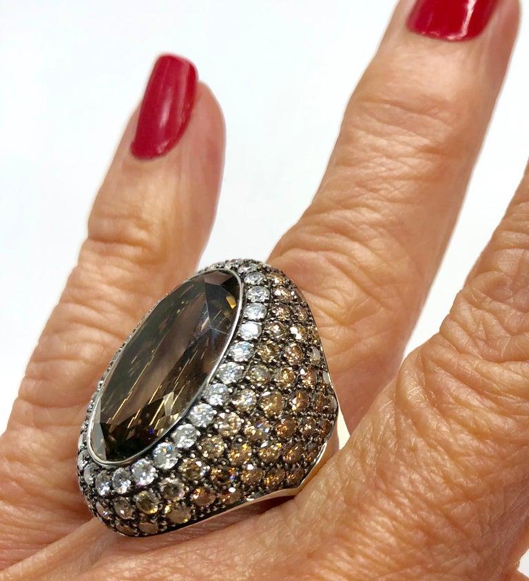 Smoky Quartz, Diamond, and White Gold Ring For Sale 2