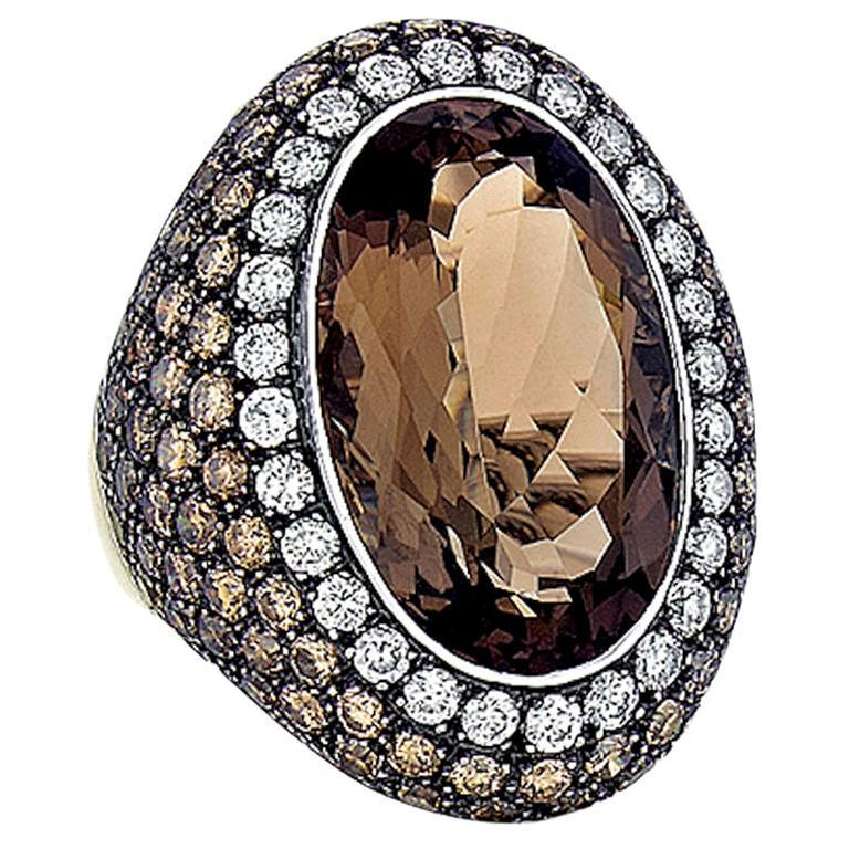 Smoky Quartz, Diamond, and White Gold Ring For Sale