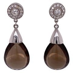 Smoky Quartz Diamond Drop 14 Karat White Gold Earrings