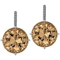 Smoky Quartz Diamond Platinum Drop Earrings