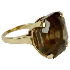 Smoky Quartz Ring with Large Square Step Cut Gem Stone in 14 Karat Gold