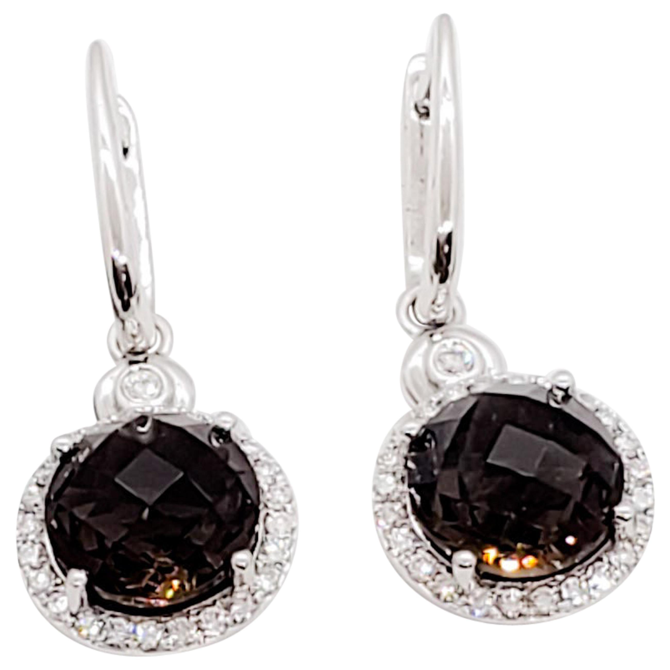 Smoky Quartz Round Dangle Earrings with White Diamonds in 14 Karat White Gold