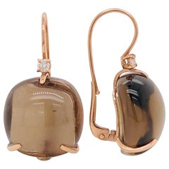 Smoky Quartz with Diamonds on Pink Gold 18 Karat Lever-Back Earrings