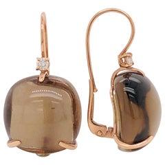 Smoky Quartz with Diamonds on Pink Gold 18 Karat Lever-Back Earrings