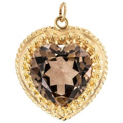 Smoky Quartz Yellow Gold Heart Shaped Pendant