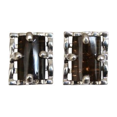 Smoky Rock Crystal and Silver Clip Earrings