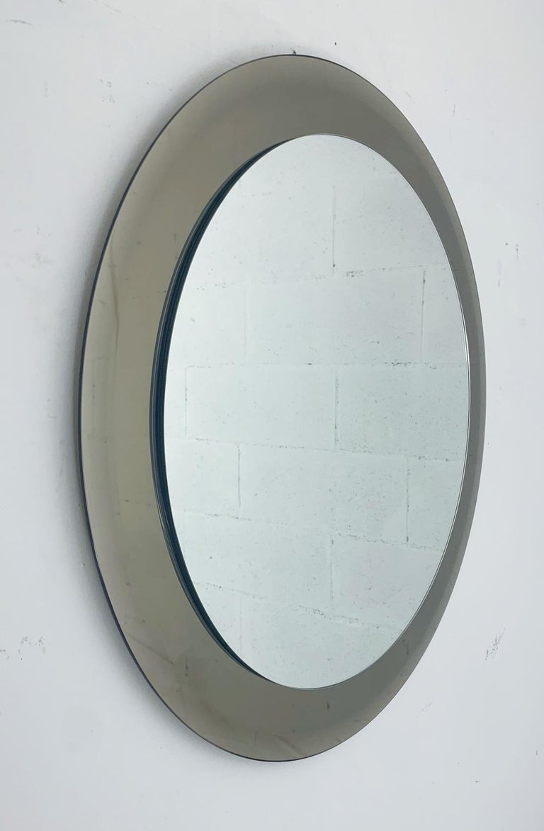 Mid-Century Modern Smoky Round Mirror by Lupi For Sale