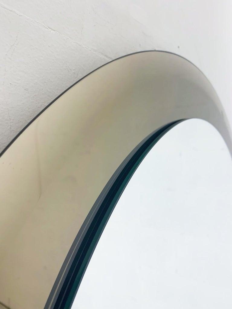 Italian Smoky Round Mirror by Lupi For Sale