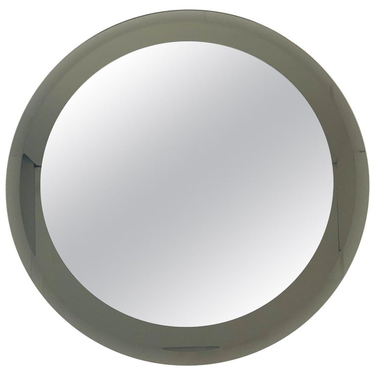 Smoky Round Mirror by Lupi For Sale