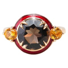 Smoky Topaz and Citrine Red Enameled Art Deco Haute Couture Design Ring