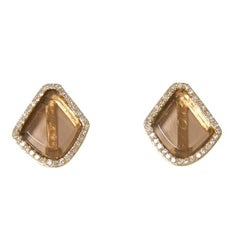 Smoky Topaz and Diamond Studs