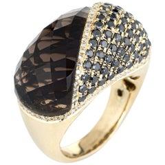 Smoky Topaz Black Diamond Dome Ring 14 Karat Yellow Gold Cocktail Jewelry Estate