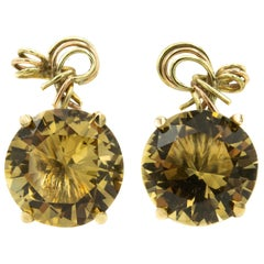 Smoky Topaz Yellow Gold Wire Bow Clip-On Earrings