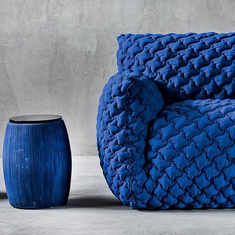 Italian Smooth Blue Armchair Lounge For Sale