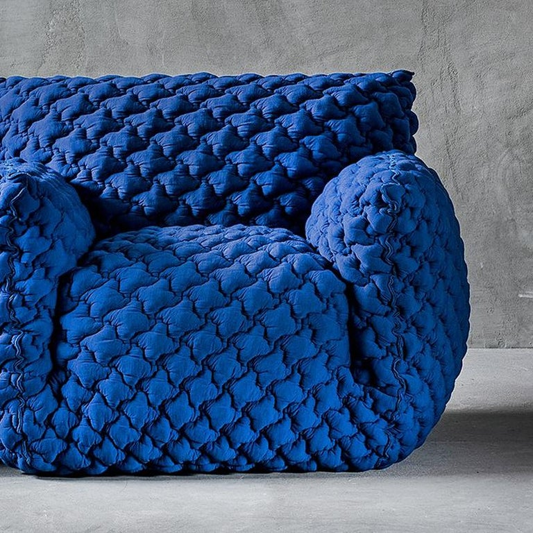 Hand-Crafted Smooth Blue Armchair Lounge For Sale