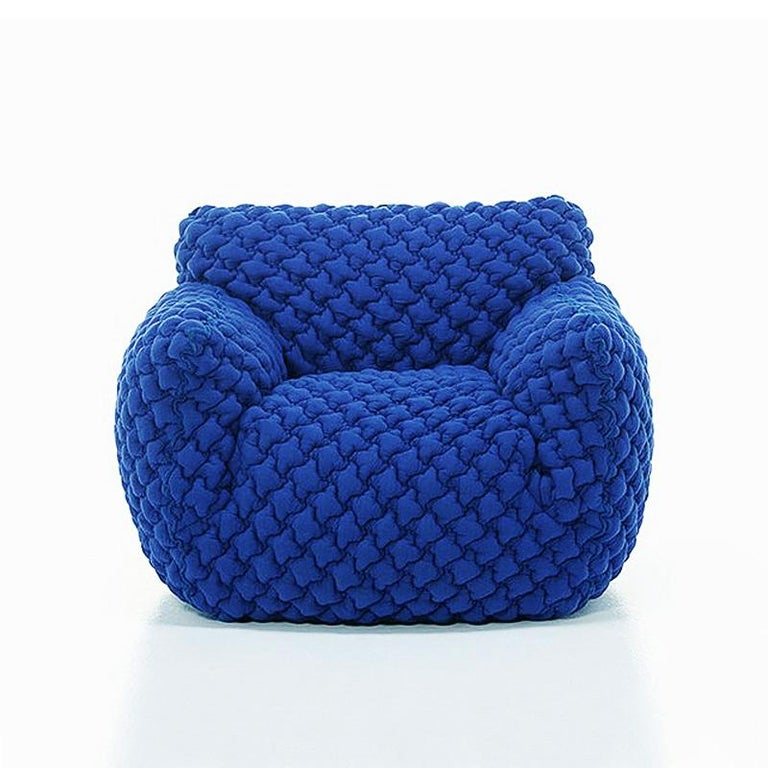 Smooth Blue Armchair Lounge In New Condition For Sale In Paris, FR