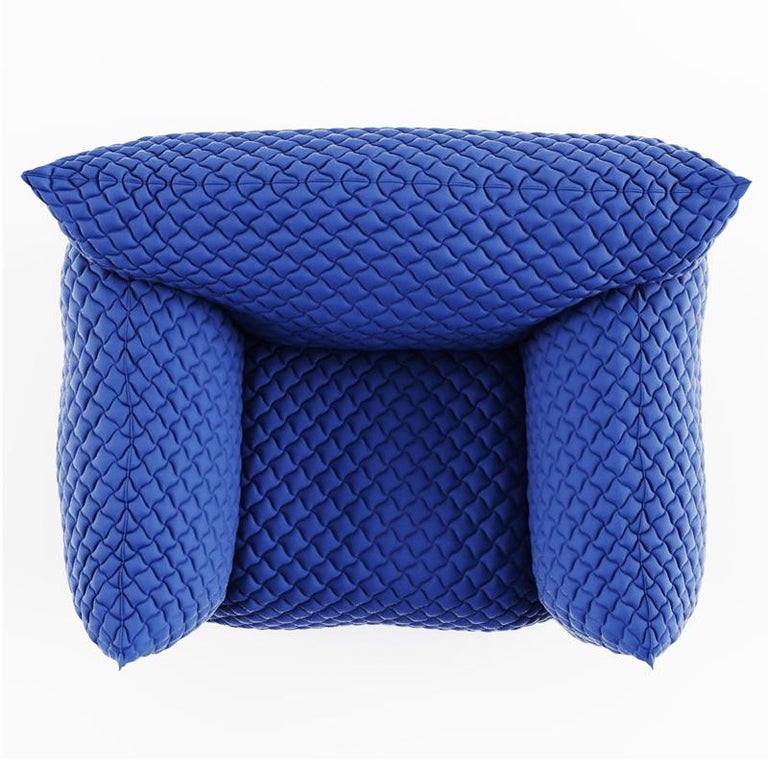 Contemporary Smooth Blue Armchair Lounge For Sale