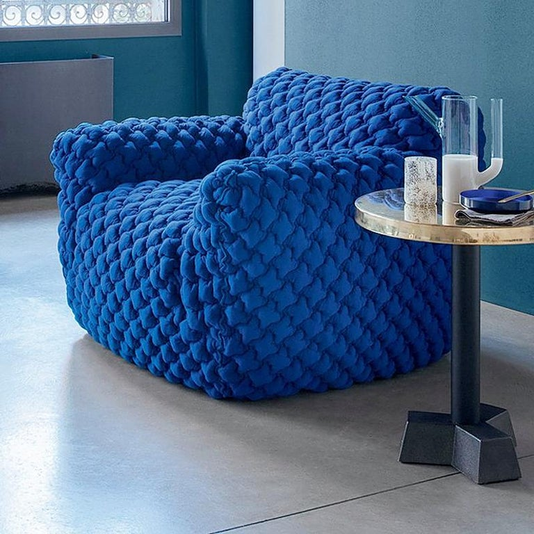 Fabric Smooth Blue Armchair Lounge For Sale
